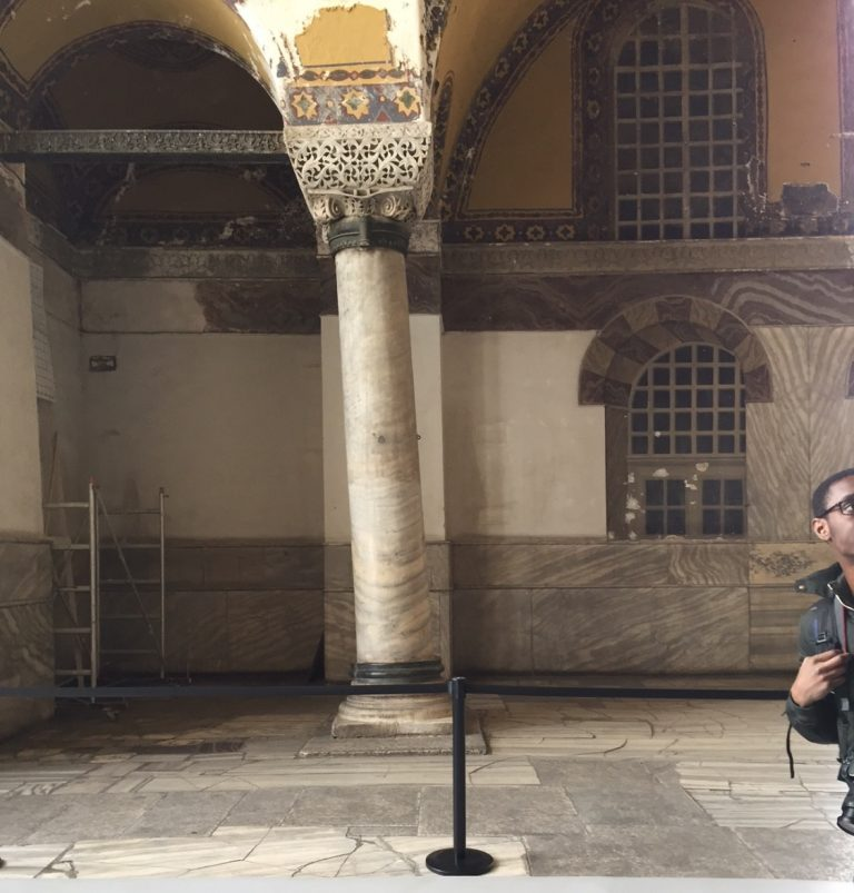 the leaning pillar of Hagia Sophia