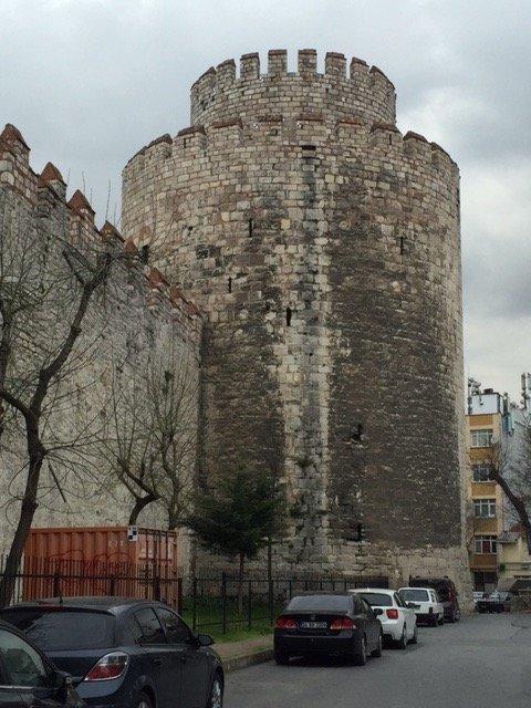 Theodosian Walls tower near the Porta Aurea