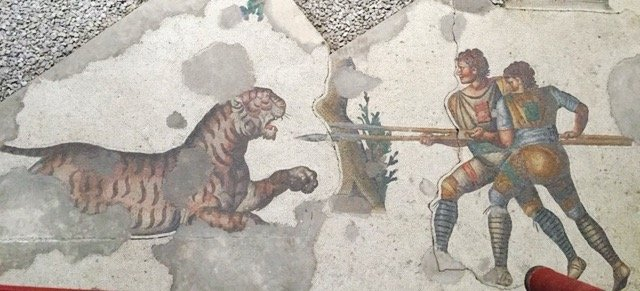 Museum of Great Palace Mosaics - hunters attacking a tiger