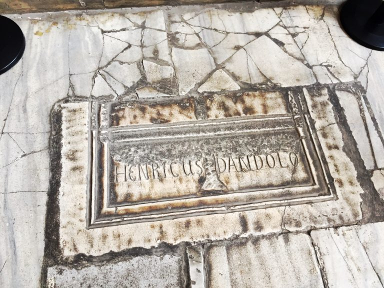 marble slab in the Hagia Sophia bearing the name of Enrico Dandolo